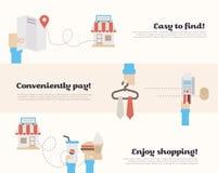 Proces kupienie w supermarkecie ilustracja wektor