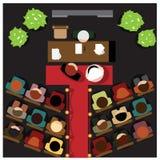 Proces małżeństwo z gościami od above Fotografia Stock
