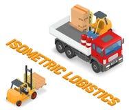Proces om de vrachtwagens met een vorkheftruck te laden stock afbeeldingen