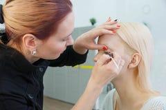 Proces om make-up te maken Grimeur die met borstel aan modelgezicht werken stock foto's
