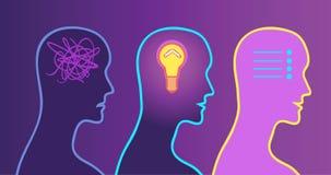Proces podejmowania decyzji, iluminacja w głowie problem rozwiązany royalty ilustracja