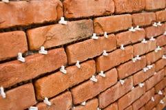 Proces robić czerwonemu ściana z cegieł, domowy odświeżanie Zdjęcie Stock