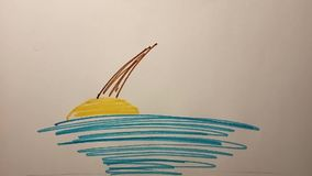 Proces rysować kreskówka tropikalnego krajobraz Teledysk sztuka
