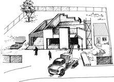 Proces van bouw van woonhuizen Royalty-vrije Stock Foto's