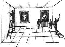 Proces van bouw van woonhuizen Royalty-vrije Stock Afbeeldingen