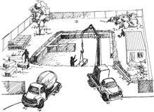 Proces van bouw van woonhuizen Royalty-vrije Stock Afbeelding
