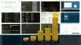Proces van de lijn van mijnbouw bitcoins cryptocurrencies stock footage