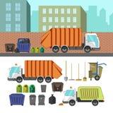 Proces van het nemen van huisvuil met vuilnisvrachtwagen Stock Fotografie