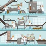 Proces van karamel en chocoladeproductiereeks horizontale kleurrijke banners Royalty-vrije Stock Afbeeldingen