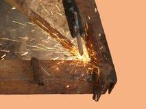 Proces van lassen van metaal door een elektrische stroom Stock Afbeelding