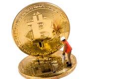 Proces van mijnbouw bitcoin concept Stock Fotografie
