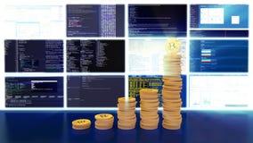 Proces van mijnbouw bitcoins, blauwe lichte stralen, lijn stock footage