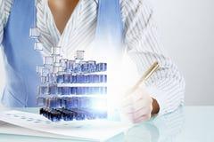 Proces van nieuwe technologieënintegratie Gemengde media Stock Foto