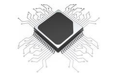 Procesador de la CPU del microchip con el circuito representación 3d Fotografía de archivo