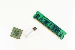 Procesador del ordenador, RAM Chip And Portable Memory Stick Fotos de archivo libres de regalías