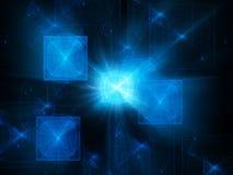 Procesadores azules del quántum que brillan intensamente Fotografía de archivo