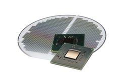 Procesadores en la oblea de silicio Imagen de archivo