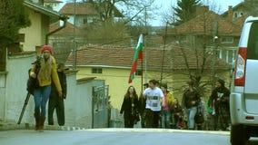 Procesión al día de liberación de Sofía en la guerra Ruso-turca en Bulgaria almacen de video