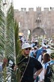 Procesión de Domingo de Ramos en Jerusalén Imagen de archivo