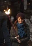 Procesión de la luz de antorchas de Edimburgo Fotos de archivo libres de regalías