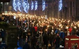 Procesión de la luz de antorchas de Edimburgo Foto de archivo