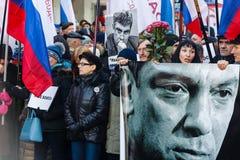 Procesión de la oposición en memoria del político Boris Nemtsov Imágenes de archivo libres de regalías