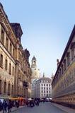 Procesión de la pared de los príncipes y de la iglesia de Frauenkirche Imagen de archivo