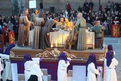 Procesión de la semana santa en Pamplona. Foto de archivo