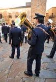 Procesión de la Virgen de la montaña, banda de la música, Caceres, Extremadura, España Fotografía de archivo