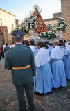 Procesión de la Virgen de la montaña, banquete de la patrona, Caceres, Extremadura, España Fotografía de archivo