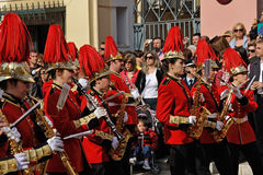 Procesión de músicos en Pascua en Corfú Fotografía de archivo