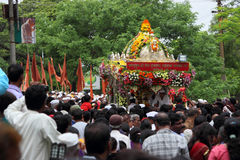 Procesión del palkhi de Sant Tukaram, Maharastra, la India Fotografía de archivo libre de regalías