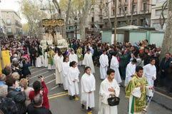 Procesión del Viernes Santo en Barcelona, España Fotos de archivo libres de regalías