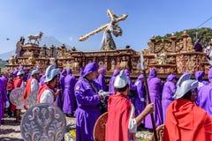 Procesión prestada con Romans Antigua, Guatemala imagen de archivo libre de regalías