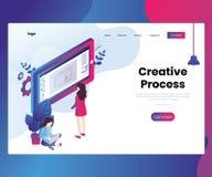 Proceso creativo de diseñar concepto isométrico de las ilustraciones ilustración del vector