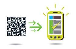 Proceso de código de QR en teléfono celular Imagen de archivo