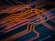 Proceso de código futurista de servidor de la placa de circuito Fondo anaranjado, verde, azul de la tecnología con el bokeh ilust libre illustration
