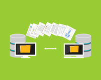 Proceso de copiado de los ficheros Transferencia de ficheros entre los dispositivos Datos de la importación o de la exportación d libre illustration