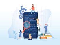Proceso de desarrollo de la aplicación móvil, creación de un prototipo y fondo de la prueba, equipo experimentado del software AP ilustración del vector