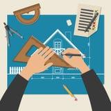 Proceso de diseñar la casa Foto de archivo libre de regalías