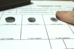 Proceso de huellas dactilares Imagen de archivo libre de regalías
