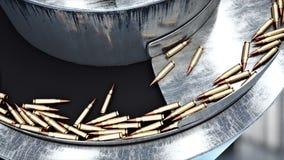 Proceso de la producción de balas Concepto industrial Equipo y macine de la fábrica acero Animación realista 4K almacen de metraje de vídeo