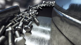 Proceso de la producción de pernos Concepto industrial Equipo y macine de la fábrica acero Animación realista 4K metrajes