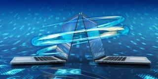 Proceso de la sincronización de datos, conexión del ordenador y concepto de la tecnología de comunicación stock de ilustración