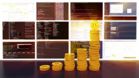 Proceso de los bitcoins de la explotación minera, brillo rojo, lazo libre illustration