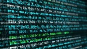 Proceso de minar moneda crypto digital Animación inconsútil abstracta del lazo de la tecnología del cryptocurrency stock de ilustración