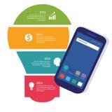 Proceso de negocio del información-gráfico de la idea del bulbo a todo color del dispositivo móvil de la tecnología de comunicaci libre illustration