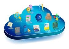 Proceso de negocio en línea que maneja en el uso de la nube Concepto Foto de archivo libre de regalías