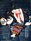 Proceso de pintura del batik Imagen de archivo