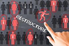 Proceso de reestructuración de los recursos humanos ilustrado en la pizarra imagenes de archivo